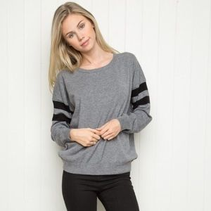 Brandy Melville Grey sweater with Black Stripes